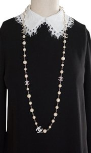 Chanel Chanel Classic White Pearl Long Necklace 5 CC Crystal Silver Logos 42