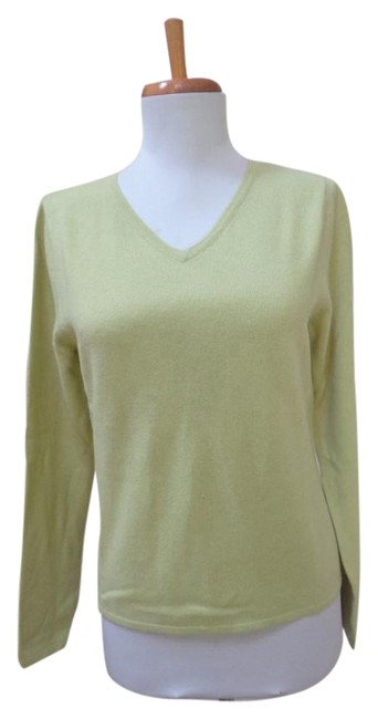 Item - Cashmere V-neck Long Sleeve Lime Green Sweater