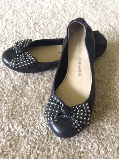 Marc Fisher Studded Leather Black Flats