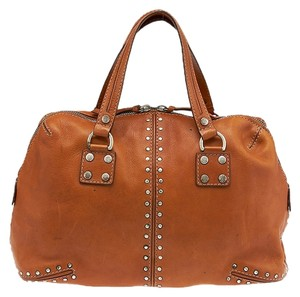 Michael Kors Leather Studded Tote in Brown