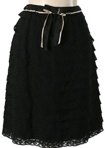 Prada Silk Tiered Lace Skirt Black