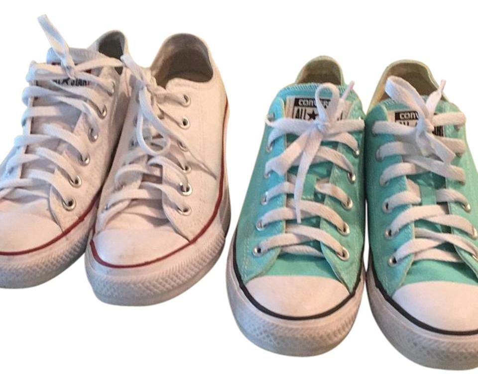 Converse White White Converse and Blue Green Sneakers 6a0893
