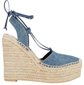 Saint Laurent Blue Denim Wedges