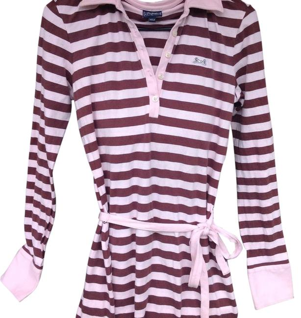 Item - Pink/Brown XL Belted Polo Knee Length Short Casual Dress Size 12 (L)