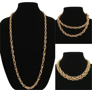 Long Gold Rope Chain Versatile Necklace