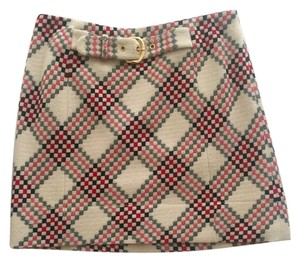 Juicy Couture Plaid Wool Belt Fall Skirt Cream, Red, Black, Gold