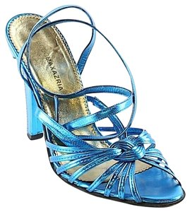 BCBGMAXAZRIA Metallic Strappy Blue Sandals