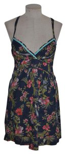 Hollister short dress Navy Blue Bird Tropical Resort Floral on Tradesy