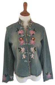 Mandarin Collar Chinese Style Embroidered Womens Jean Jacket
