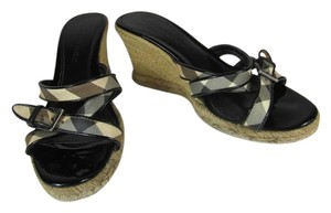 Burberry Nova Check Leather Wedge Sandals