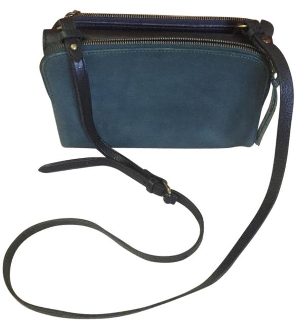 Item - Twin Pouch Blue/Green Leather Cross Body Bag