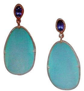 Sterling Collections 14 Karat Rose Gold Plated Sterling Silver Chalcedony Drop Earrings