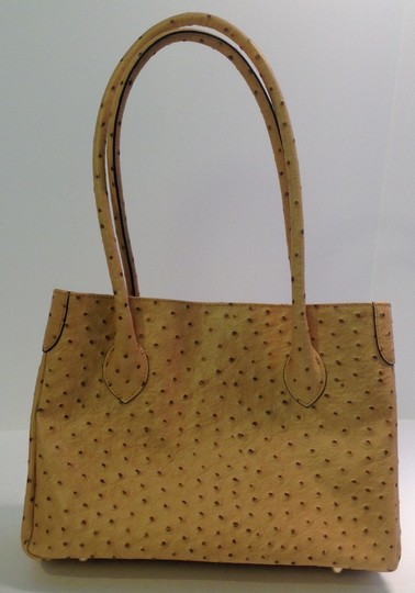 Mario Valentino Ostrich Tote Gold Toned Hardware Italian Leather Shoulder Bag