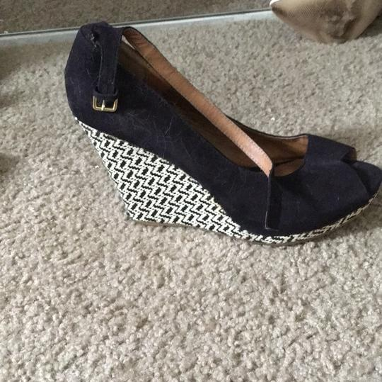 Mossimo Supply Co. Black, cream pattern Wedges