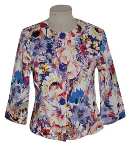 Coldwater Creek Watercolor Floral 3/4 Sleeve Casual Resort Jacket