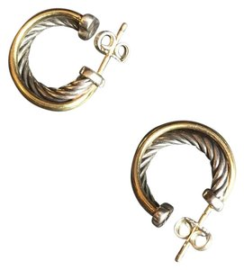 David Yurman David Yurman Small Crossover Gold and Silver Hoop Earrings
