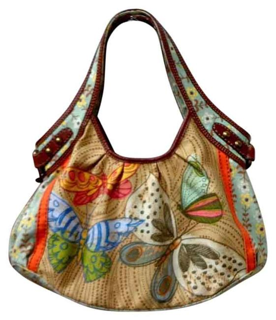 Item - Butterfly Design Handbag Multi-color Canvas Shoulder Bag