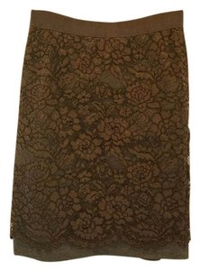 Ann Taylor LOFT Pencil Office Skirt Grey and brown lace