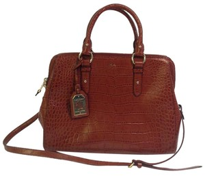 Lauren Ralph Lauren Crocodile Motif Leather Satchel in Brown