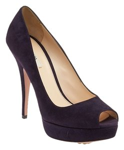 Prada Suede Peep Toe Purple Pumps