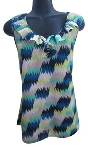 Banana Republic Ruffled Luxe Abstract Summer Top Multicolored