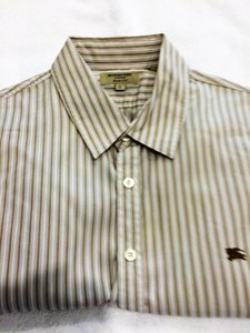 Burberry Taupe and White Stripe Mens Dress Shirt