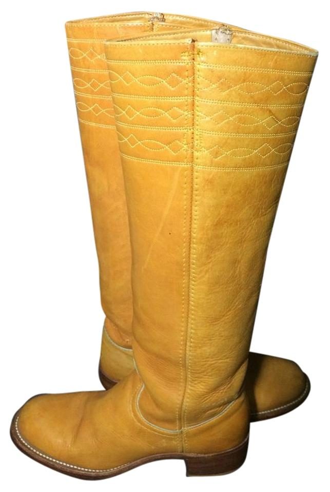 85d8e771ea6 Frye Yellow Black Label Campus 70 s Stitching Banana Women s Boots ...