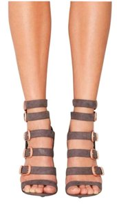 Nasty Gal Suede Heels Strappy Gray Sandals
