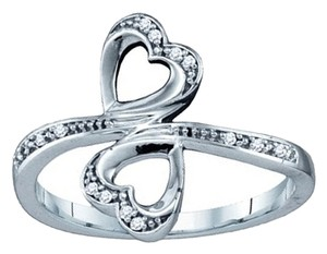 Other BrianG 10K WHITE GOLD 0.04 CTTW DIAMOND DOUBLE HEART RING