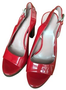 Miu Miu Made In Italy Leather Red Platforms
