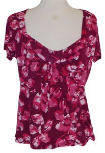 Anthropologie Magents Floral Knit T Shirt magenta