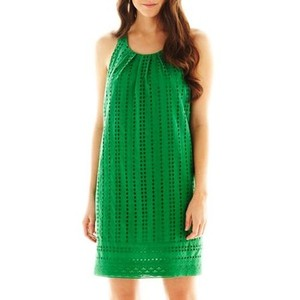 Isabel & Nina short dress Kelly Green Eyelet Lace Shift Pleat Neck Resort on Tradesy