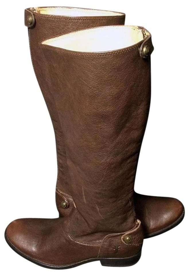 3f27f5a57f7 Frye Brown 76430 Melissa Button Back Zip Leather Riding Motorcycle Women s  Boots Booties