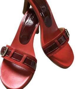 Coach Heels Sandals Red/Orange Pumps