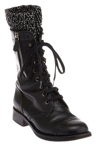 Chanel Lace-uup Leather Black Boots