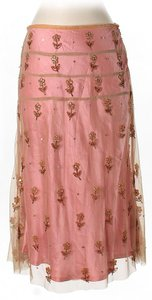 Tracy Reese Floral Print Beaded Embroidered Skirt