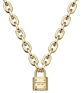 Kate Spade Nwt Michael Kors padlock charm gold tone necklace mkj3327791