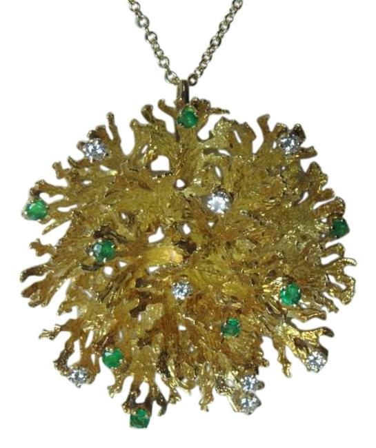 Item - Yellow Gold Green Rare Coral Brooch/Pendant with Diamonds and Emeralds Charm