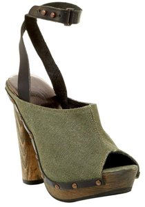 Diesel Peep Toe Heel Studded Military Green Mules