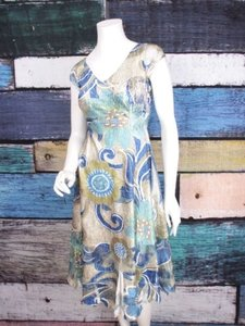Komarov short dress Beige, Blue Floral Crinkle Satin Charmeause Lace Inset on Tradesy