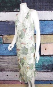 Other Simply Silk Floral Rayon Burnout Ruffle Art To Wear Artsy Dress