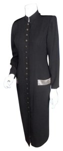 Black Maxi Dress by Donna Morgan For Maggy Steampunk Victorian Goth Military
