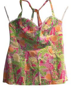 Lilly Pulitzer Pink, tangerine, lime, white Halter Top