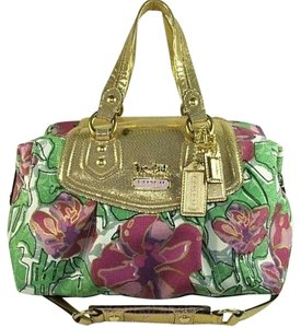 Coach Rare Limited Edition Satchel in Gold/Multi-color/Floral