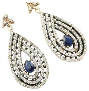 Other New Blue Sapphire White Topaz 925 Turkish Silver Earring 2