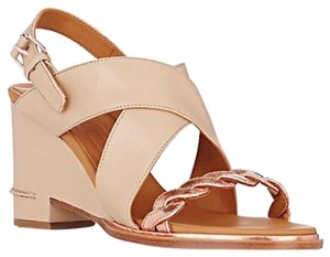 VERONIQUE BRANQUINHO Braided-Detail Slingback Wedge Sandals Nude Wedges