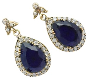 Other New Blue Sapphire 925 Silver Turkish Earrings