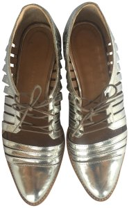 Loeffler Randall Loafer Lace Up Detail Silver Flats