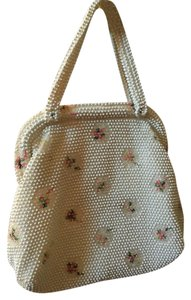 Corde Bead Vintage Beaded Evening Purse White, pink, green Clutch