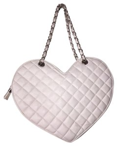 bebe Heart Shaped Heart Tote in White